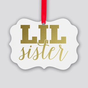 Gold Foil Lil Sister Picture Ornament