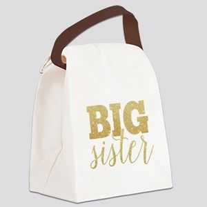 Glitter Big Sister Canvas Lunch Bag