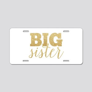 Glitter Big Sister Aluminum License Plate