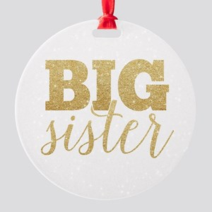 Glitter Big Sister Round Ornament