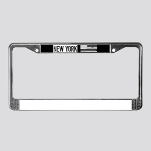 Black & White U.S. Flag: New Y License Plate Frame