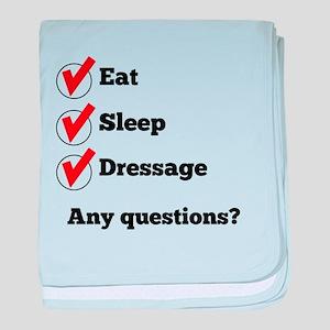 Eat Sleep Dressage Checklist baby blanket