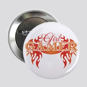 Girl Gamer Tattoo Flame Art Button
