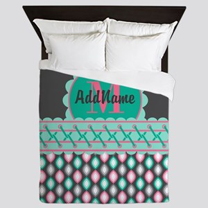 Teal and Pink Custom Personalized Mono Queen Duvet