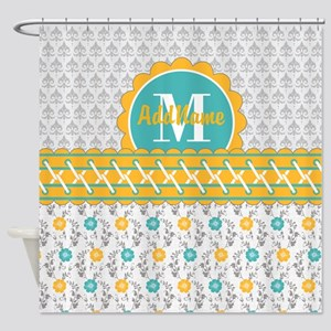 Yellow Teal Gray Fleur Floral Monog Shower Curtain