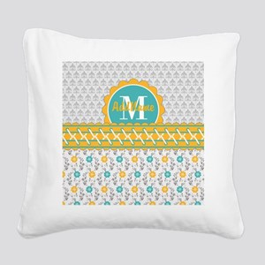 Yellow Teal Gray Fleur Floral Square Canvas Pillow