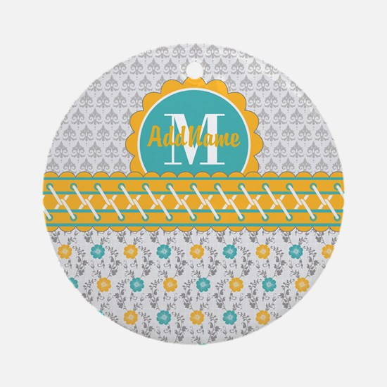 Yellow Teal Gray Fleur Floral Mon Ornament (Round)