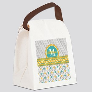 Yellow Teal Gray Fleur Floral Mon Canvas Lunch Bag
