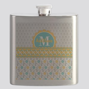 Yellow Teal Gray Fleur Floral Monogram Flask