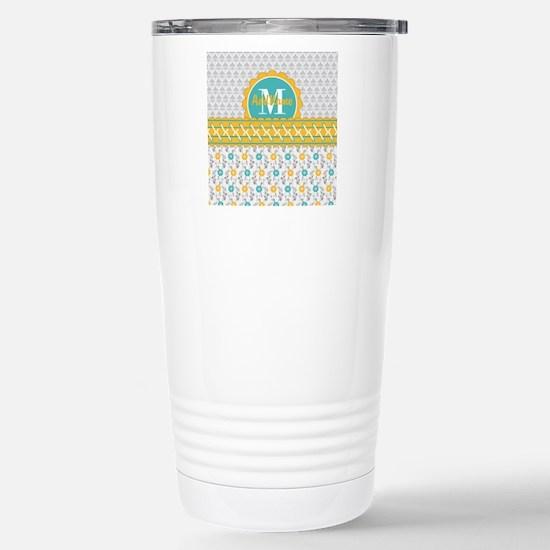 Yellow Teal Gray Fleur Stainless Steel Travel Mug