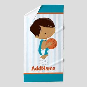 Personalized Kids Basketball Beach Towel