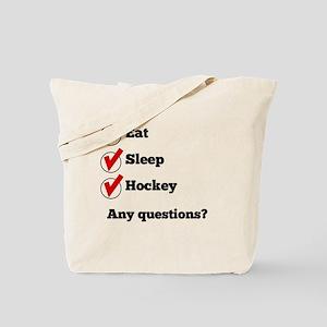 Eat Sleep Hockey Checklist Tote Bag