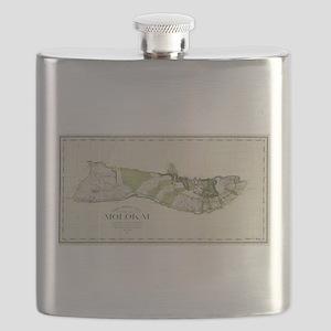 Vintage Map of Molokai Hawaii (1906) Flask