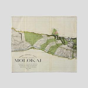 Vintage Map of Molokai Hawaii (1906) Throw Blanket