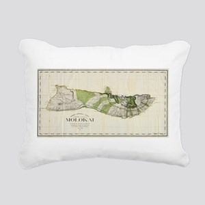 Vintage Map of Molokai H Rectangular Canvas Pillow