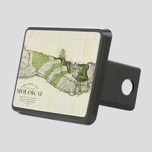 Vintage Map of Molokai Haw Rectangular Hitch Cover