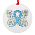 Blue Awareness Ribbon Butterfly Ornament