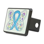 Blue Awareness Ribbon Butterfly Hitch Cover