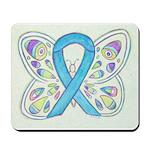 Blue Awareness Ribbon Butterfly Mousepad
