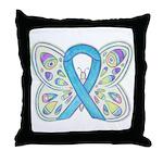 Blue Awareness Ribbon Butterfly Throw Pillow