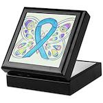 Blue Awareness Ribbon Butterfly Keepsake Box