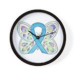 Blue Awareness Ribbon Butterfly Wall Clock