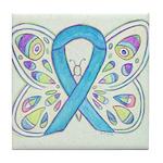 Blue Awareness Ribbon Butterfly Tile Coaster