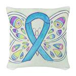 Blue Awareness Ribbon Butterfly Woven Throw Pillow