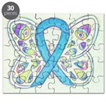 Blue Awareness Ribbon Butterfly Puzzle