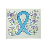 Blue Awareness Ribbon Butterfly Throw Blanket