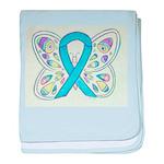 Blue Awareness Ribbon Butterfly baby blanket