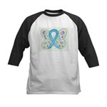 Blue Awareness Ribbon Butterfly Baseball Jersey