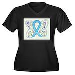 Blue Awareness Ribbon Butterfly Plus Size T-Shirt