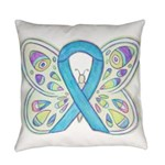 Blue Awareness Ribbon Butterfly Everyday Pillow