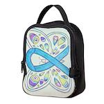 Blue Awareness Ribbon Butterfly Neoprene Lunch Bag