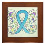 Blue Awareness Ribbon Butterfly Framed Tile