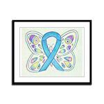 Blue Awareness Ribbon Butterfly Framed Panel Print