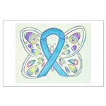 Blue Awareness Ribbon Butterfly Posters