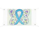 Blue Awareness Ribbon Butterfly Banner
