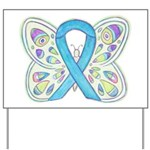Blue Awareness Ribbon Butterfly Yard Sign