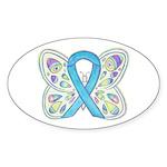 Blue Awareness Ribbon Butterfly Sticker