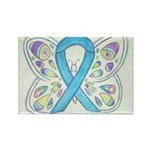Blue Awareness Ribbon Butterfly Art Magnet Magnets