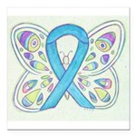 Blue Awareness Ribbon Butterfly Square Car Magnet