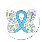 Blue Awareness Ribbon Butterfly Round Car Magnet
