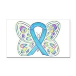 Blue Awareness Ribbon Butterfly Rectangle Car Magn