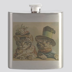 Vintage Cats in Hats Flask