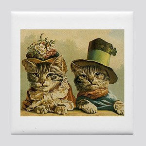 Vintage Cats in Hats Tile Coaster