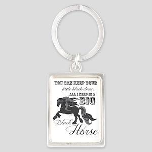 Big Black Horse Portrait Keychain