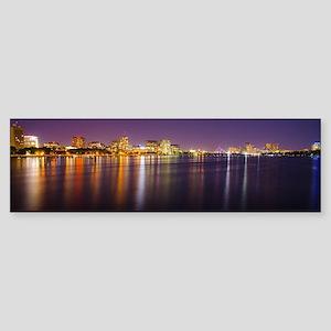 Boston Skyline at Night Sticker (Bumper)