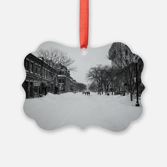 Wintry Boston, Newbury St Ornament